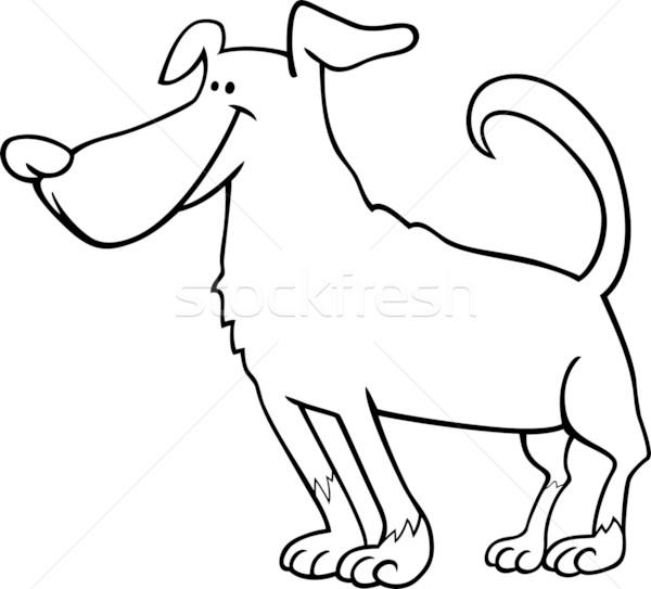 Sevimli Köpek Karikatür Boyama Kitabı Siyah Beyaz