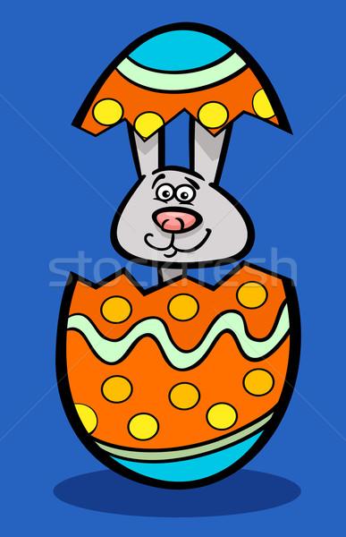 bunny in easter egg cartoon illustration Stock photo © izakowski