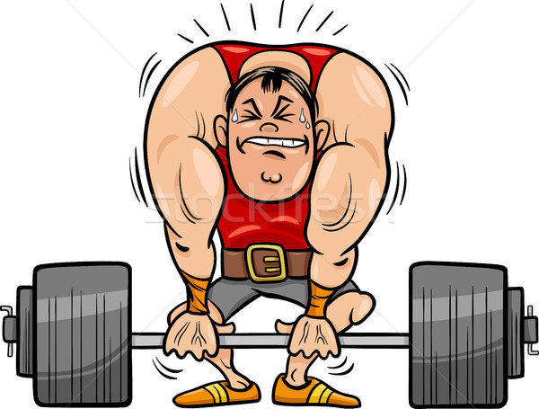 weightlifting sportsman cartoon illustration Stock photo © izakowski