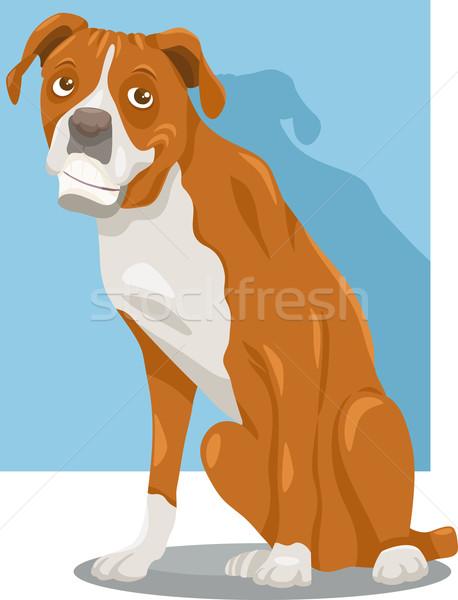 boxer dog cartoon illustration Stock photo © izakowski