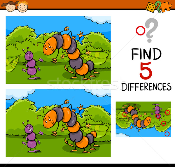 Tarea diferencias Cartoon ilustración Foto stock © izakowski