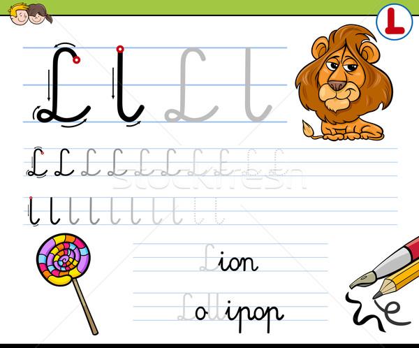 Schrijven letter l cartoon illustratie schrijven vaardigheden Stockfoto © izakowski