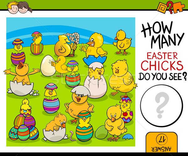 задача Пасху цыплят Cartoon иллюстрация образовательный Сток-фото © izakowski