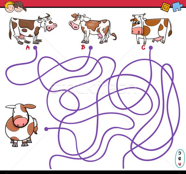path maze game with cows Stock photo © izakowski