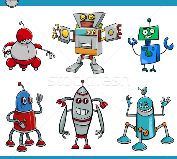 robot cartoon characters set Stock photo © izakowski