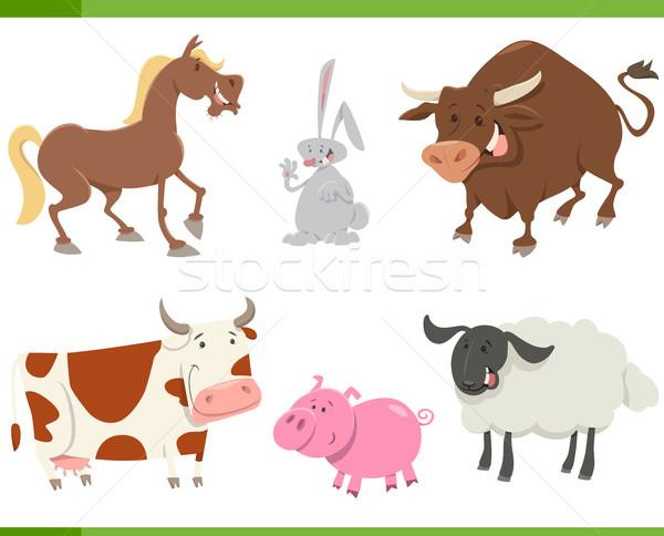 cute farm animals cartoon set Stock photo © izakowski
