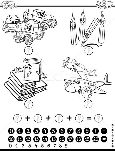 Matematyczny zadanie strona czarno białe cartoon ilustracja Zdjęcia stock © izakowski