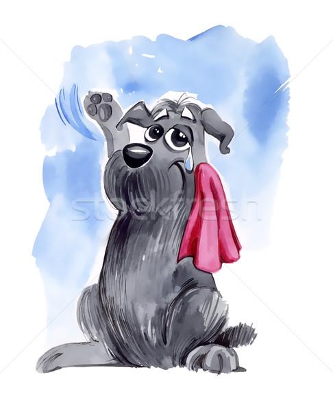 Kutya integet viszlát humoros illusztráció kócos Stock fotó © izakowski