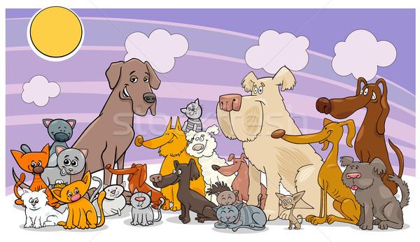 cartoon funny dog and cats group Stock photo © izakowski