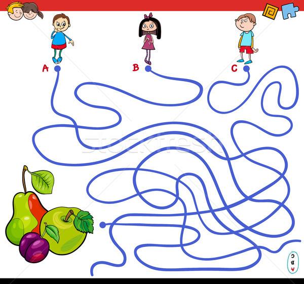 paths maze game with kids and fruits Stock photo © izakowski