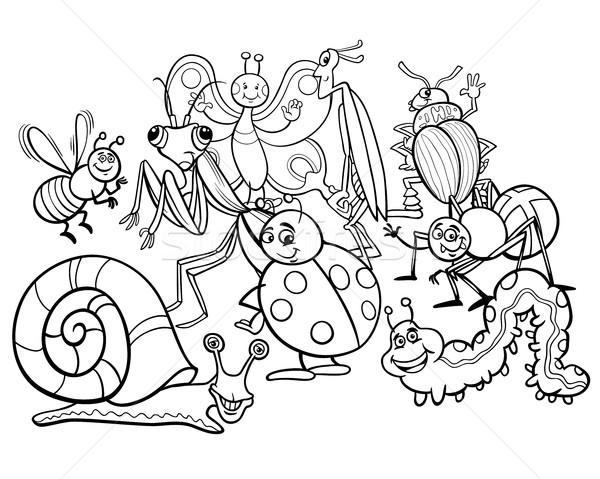 Desenho animado insetos animal livro para colorir preto e branco Foto stock © izakowski