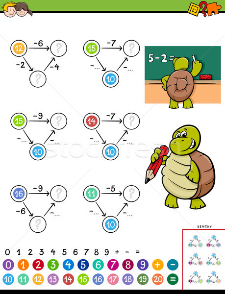 maths subtraction educational game for kids Stock photo © izakowski