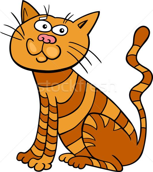 красный сидят кошки Cartoon иллюстрация смешные Сток-фото © izakowski