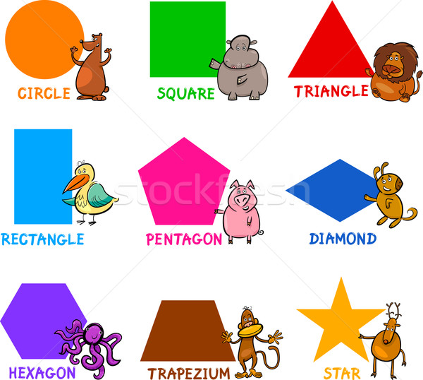 Basic Geometric Shapes with Cartoon Animals Stock photo © izakowski