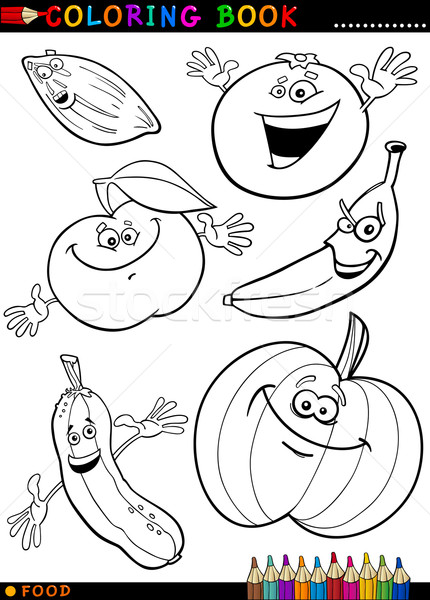 Fruits And Vegetables For Coloring Vector Illustration C Igor