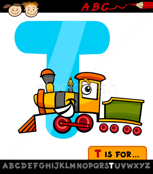 letter t with train cartoon illustration Stock photo © izakowski