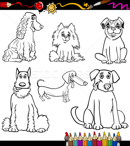 Cartoon hond pagina kleurboek zwart wit illustratie Stockfoto © izakowski