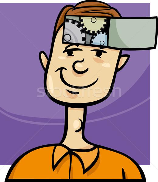 Astucieux Guy cartoon illustration jeune homme Photo stock © izakowski