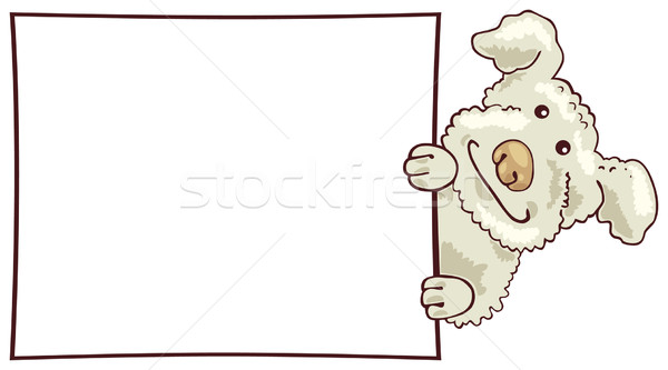 Stock photo: White puddle dog with card