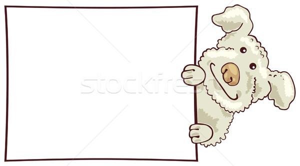 Fehér pocsolya kutya kártya illusztráció szemek Stock fotó © izakowski