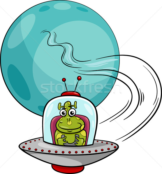 alien in ufo cartoon illustration Stock photo © izakowski