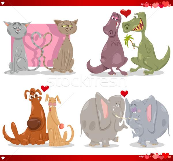 Valentijn cartoon illustratie liefde ingesteld cute Stockfoto © izakowski