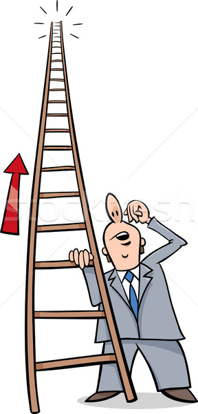 Ladder succes cartoon humor illustratie gezegde Stockfoto © izakowski