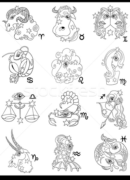 Fantasy horoscope zodiac signes cartoon illustration Photo stock © izakowski
