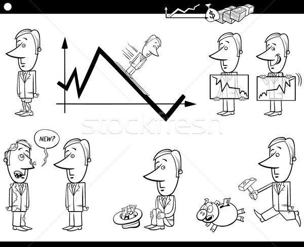 Business cartoon metafora set bianco nero illustrazione Foto d'archivio © izakowski
