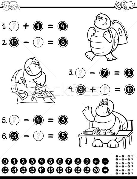 Educativo página blanco negro Cartoon ilustración matemático Foto stock © izakowski