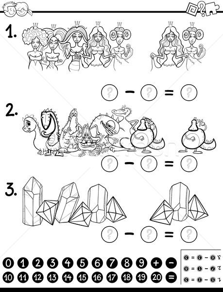 ストックフォト: 数学の · 活動 · 塗り絵の本 · 黒白 · 漫画 · 実例