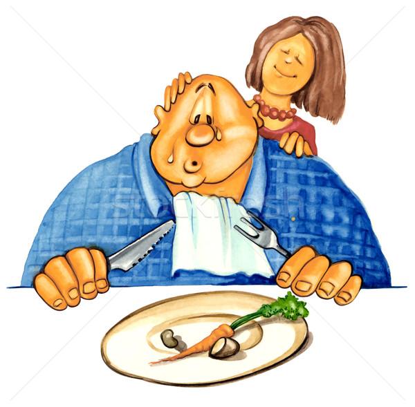 Triste excesso de peso cara dieta ilustração comida Foto stock © izakowski