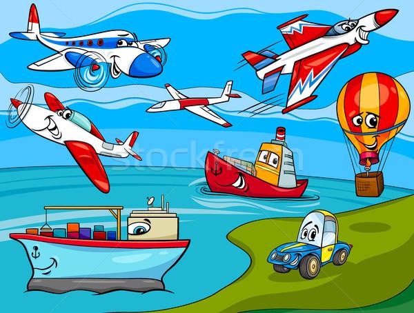 transportation vehicles cartoon illustration Stock photo © izakowski