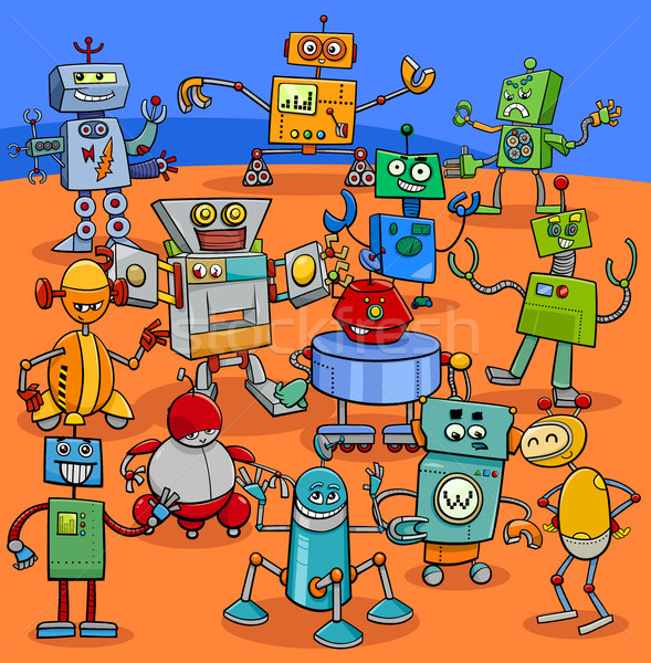 cartoon robot characters big pack Stock photo © izakowski