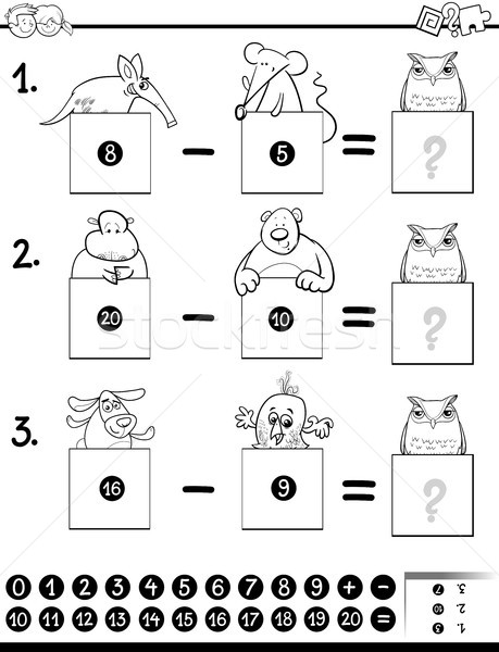 addition educational game coloring page Stock photo © izakowski
