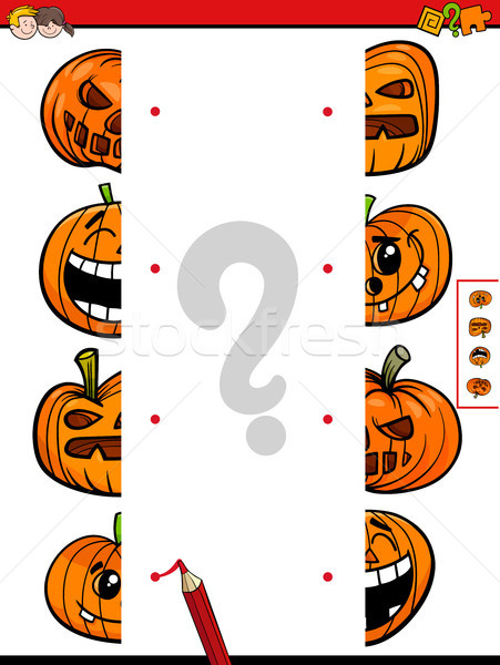 match halves game of halloween pumpkins Stock photo © izakowski