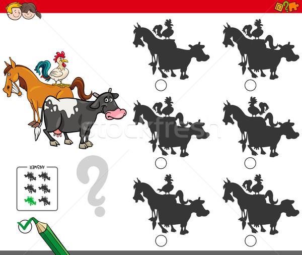 shadow activity game with farm animals characters Stock photo © izakowski