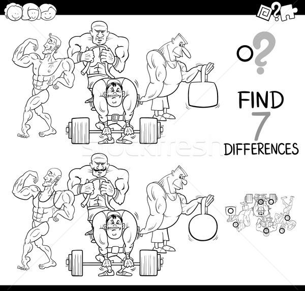 Diferenças jogo atletas cor livro preto e branco Foto stock © izakowski