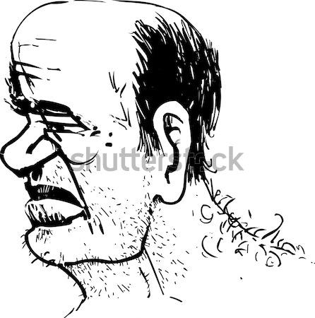 Hombre perfil caricatura boceto dibujo ilustración Foto stock © izakowski