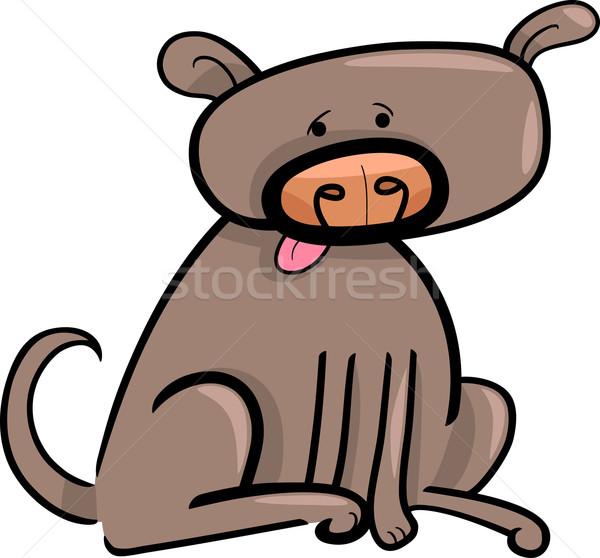 Cartoon болван собака иллюстрация смешные коричневая собака Сток-фото © izakowski