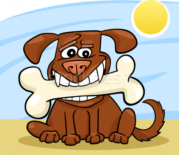 Cartoon Dog with big bone Stock photo © izakowski