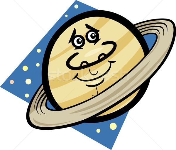 funny saturn planet cartoon illustration Stock photo © izakowski