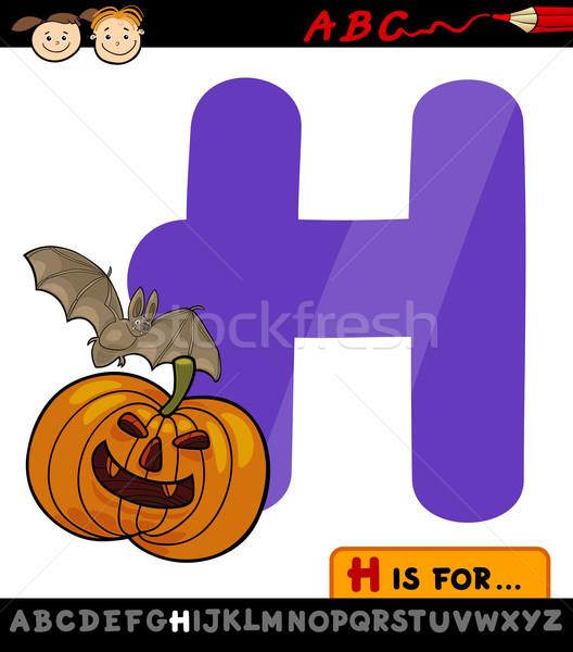 letter h for halloween cartoon illustration Stock photo © izakowski