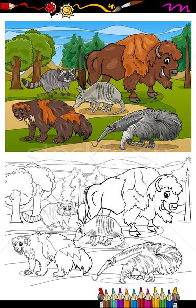 млекопитающих животные Cartoon книжка-раскраска страница иллюстрация Сток-фото © izakowski