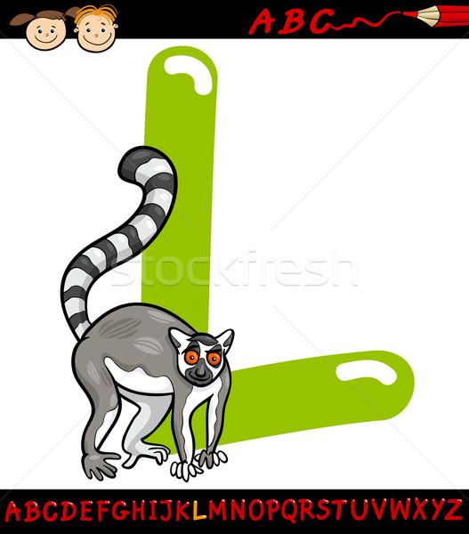 Letter l cartoon illustratie hoofdletter alfabet dier Stockfoto © izakowski