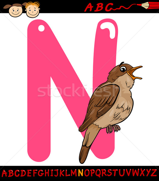 letter n for nightingale cartoon illustration Stock photo © izakowski