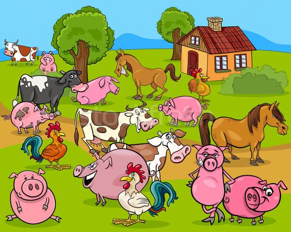 Boerderijdieren cartoon illustratie land scène kip Stockfoto © izakowski