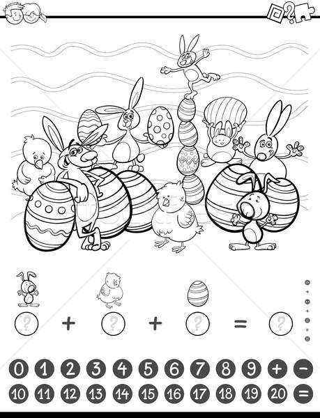 Matemática tarefa livro para colorir preto e branco desenho animado ilustração Foto stock © izakowski