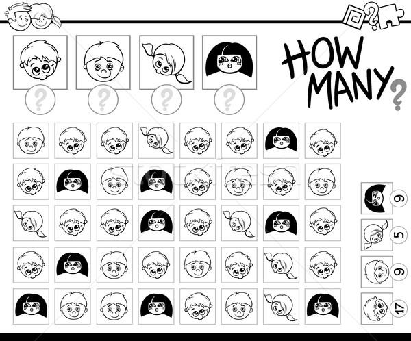 Gyerekek feketefehér rajz illusztráció oktatási játék Stock fotó © izakowski