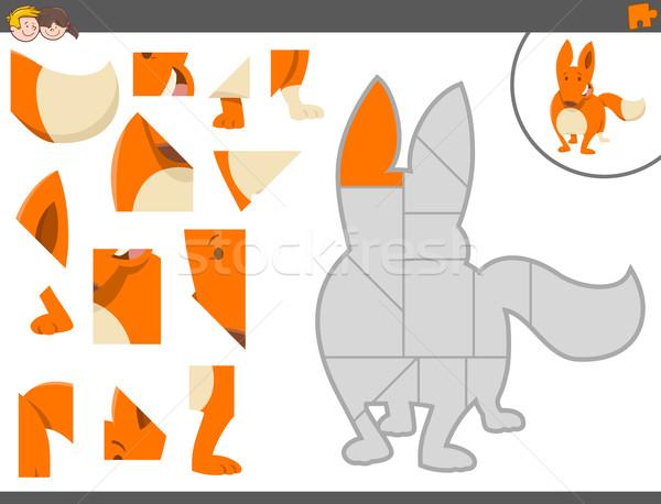 Kirakós játék játék róka rajz illusztráció oktatási Stock fotó © izakowski